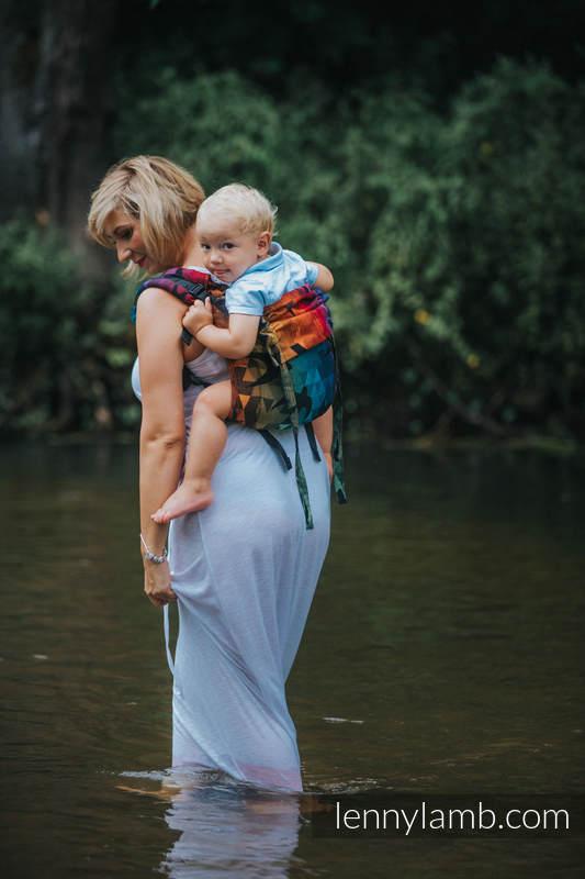 Lenny Buckle Onbuhimo Tragehilfe, Größe Standard, Jacquardwebung (100% Baumwolle) - SWALLOWS RAINBOW DARK #babywearing