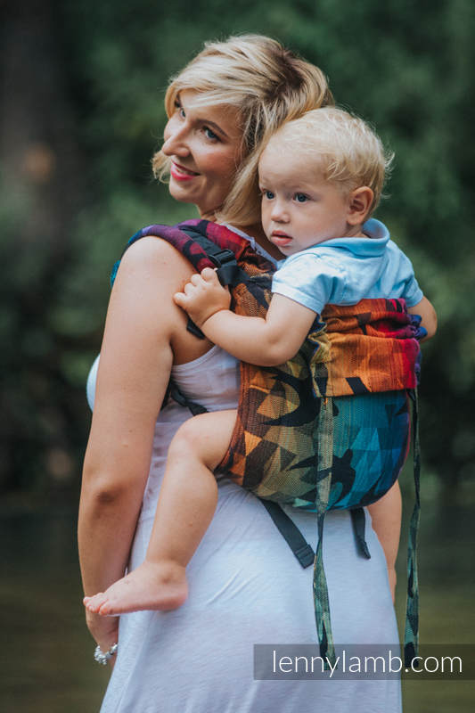 Lenny Buckle Onbuhimo baby carrier, toddler size, jacquard weave (100% cotton) - SWALLOWS RAINBOW DARK #babywearing