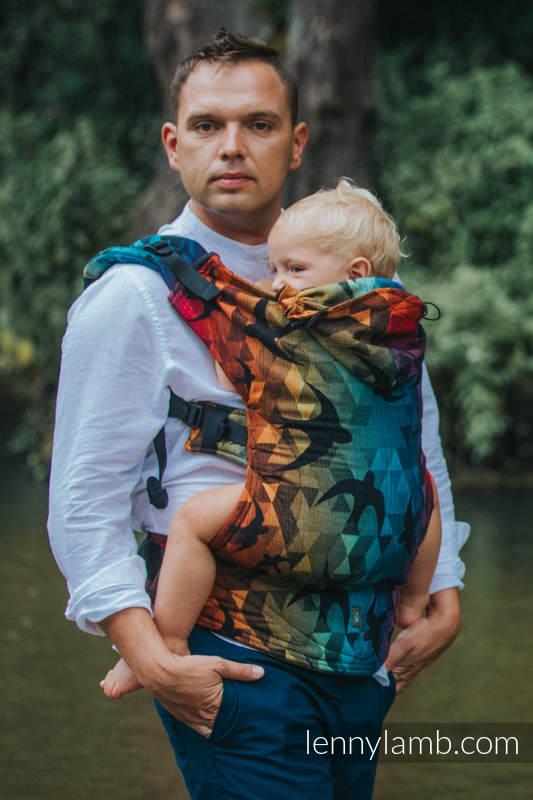 Ergonomic Carrier, Toddler Size, jacquard weave 100% cotton - SWALLOWS RAINBOW DARK - Second Generation #babywearing