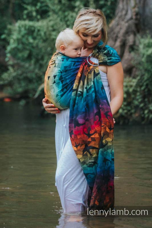 Chusta kółkowa, splot żakardowy, (100% bawełna) - JASKÓŁKI TĘCZOWE DARK - standard 1.8m #babywearing