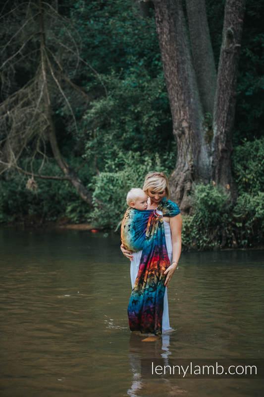 Bandolera de anillas, tejido Jacquard (100% algodón) - SWALLOWS RAINBOW DARK - standard 1.8m #babywearing
