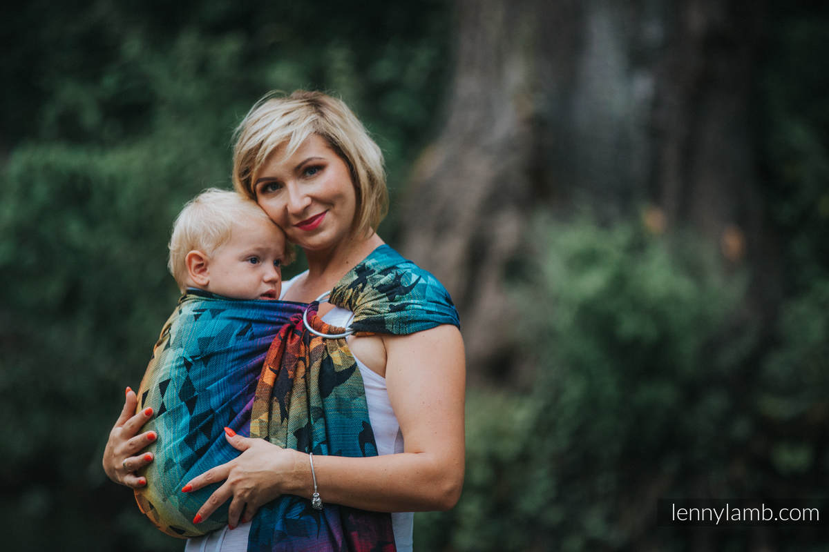 Ringsling, Jacquard Weave (100% cotton), with gathered shoulder - SWALLOWS RAINBOW DARK - standard 1.8m #babywearing