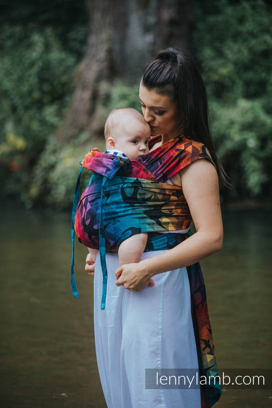 WRAP-TAI carrier Mini with hood/ jacquard twill / 100% cotton / SWALLOWS RAINBOW DARK (grade B) #babywearing