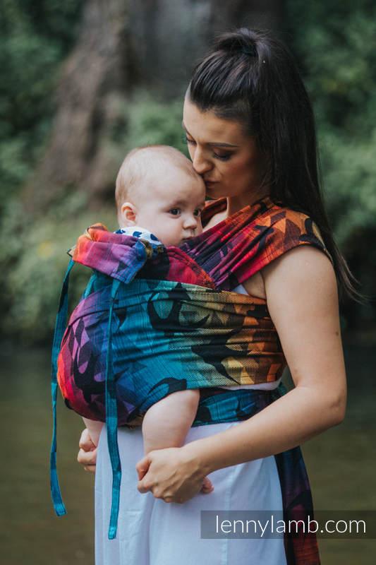 WRAP-TAI carrier Toddler with hood/ jacquard twill / 100% cotton / SWALLOWS RAINBOW DARK #babywearing