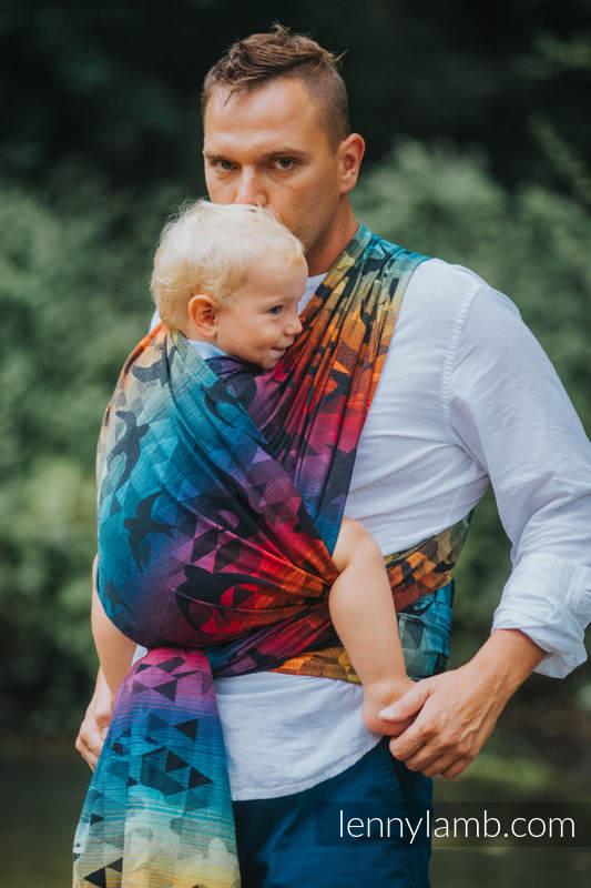 Baby Wrap, Jacquard Weave (100% cotton) - SWALLOWS RAINBOW DARK - size L #babywearing