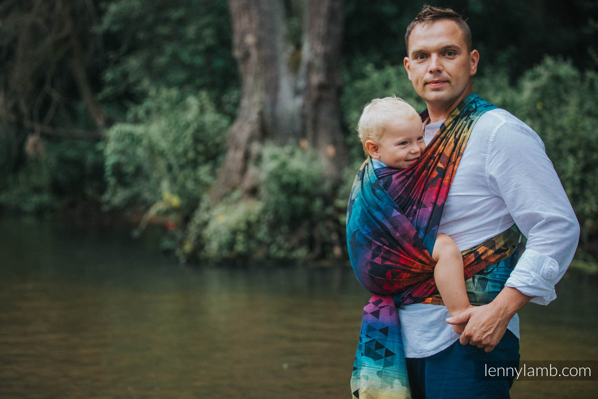 Baby Wrap, Jacquard Weave (100% cotton) - SWALLOWS RAINBOW DARK - size S (grade B) #babywearing