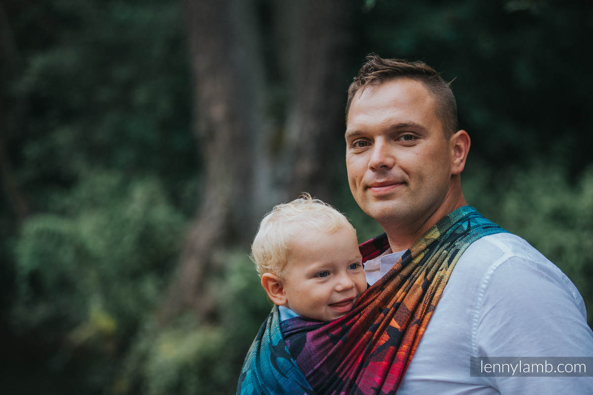 Baby Wrap, Jacquard Weave (100% cotton) - SWALLOWS RAINBOW DARK - size S #babywearing