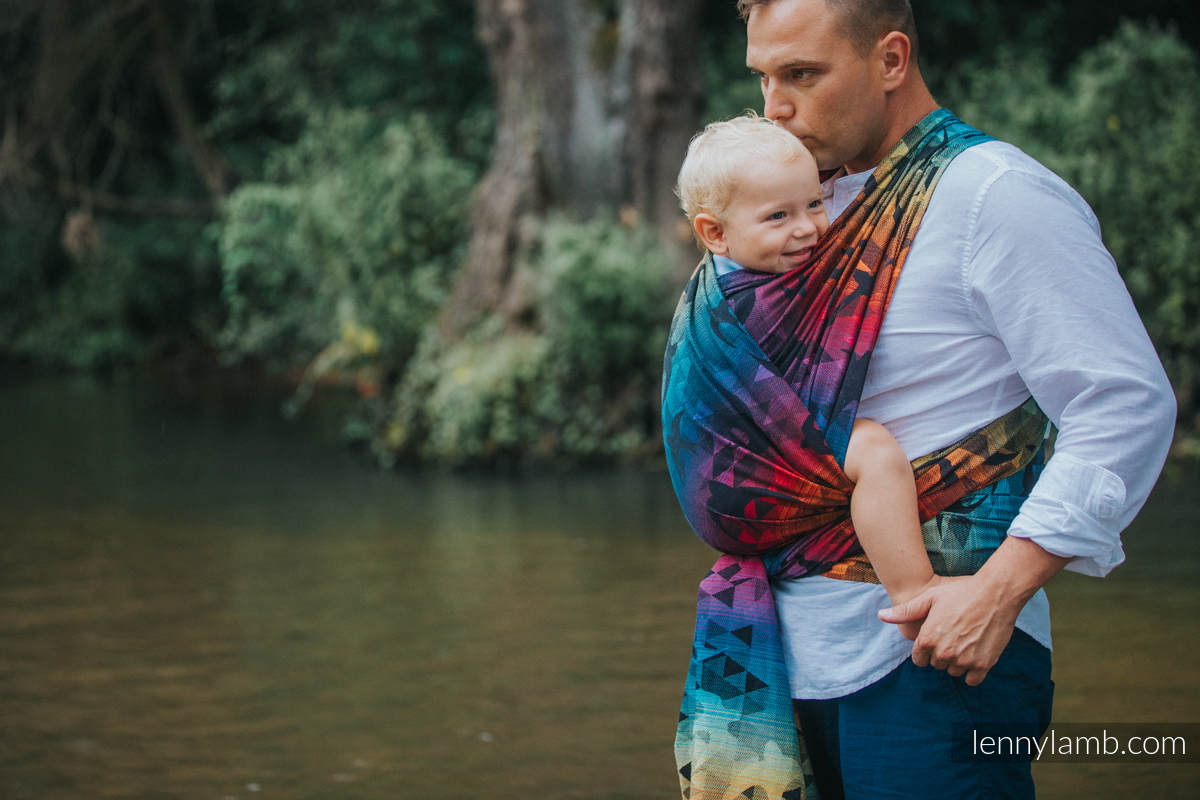 Baby Wrap, Jacquard Weave (100% cotton) - SWALLOWS RAINBOW DARK - size XL #babywearing