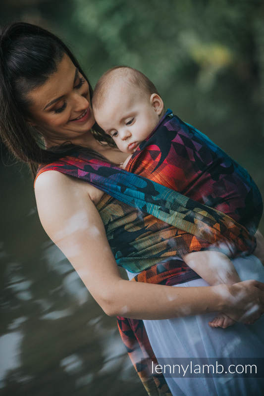 Baby Wrap, Jacquard Weave (100% cotton) - SWALLOWS RAINBOW DARK - size XS #babywearing