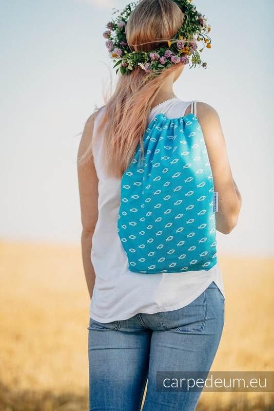 Plecak/worek z materiału żakardowego, (100% bawełna) - ICHTYS - NIEBIESKI - uniwersalny rozmiar 35cmx45cm #babywearing