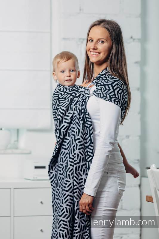 Basic Line Ring Sling - HEMATITE - 100% Cotton - Jacquard Weave -  with gathered shoulder - standard 1.8m #babywearing