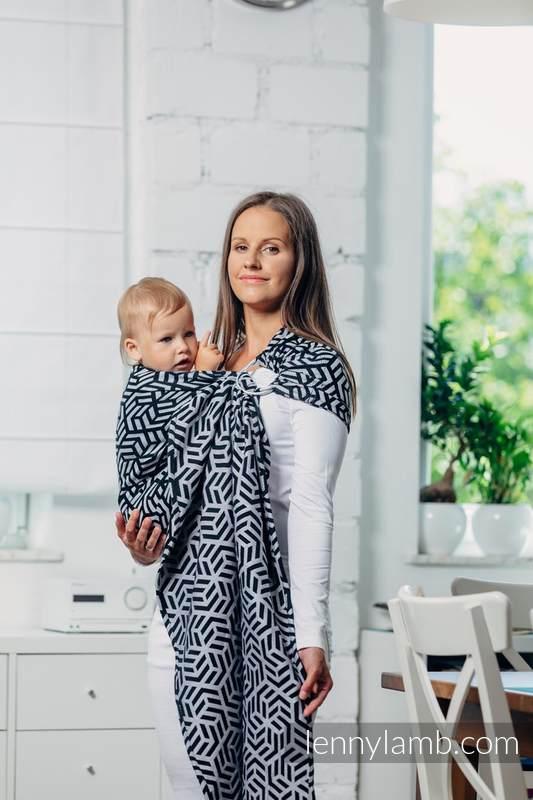 Moja druga chusta kółkowa do noszenia dzieci - HEMATYT, splot żakardowy - bawełniana - ramię bez zakładek - long 2.1m #babywearing