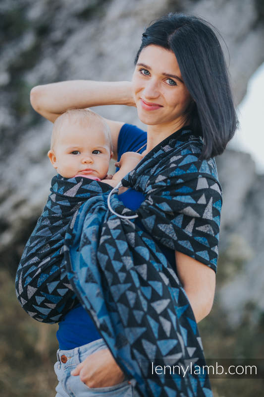 Ringsling, Jacquard Weave (100% cotton) - with gathered shoulder - EAGLES' STONES - long 2.1m #babywearing