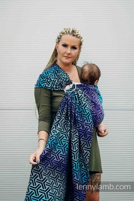 Ringsling, Jacquard Weave (100% cotton) - with gathered shoulder - TRINITY COSMOS - long 2.1m (grade B) #babywearing