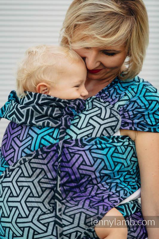 Nosidełko dla dzieci WRAP-TAI MINI, bawełna, splot żakardowy, z kapturkiem, TRINITY KOSMOS (drugi gatunek) #babywearing