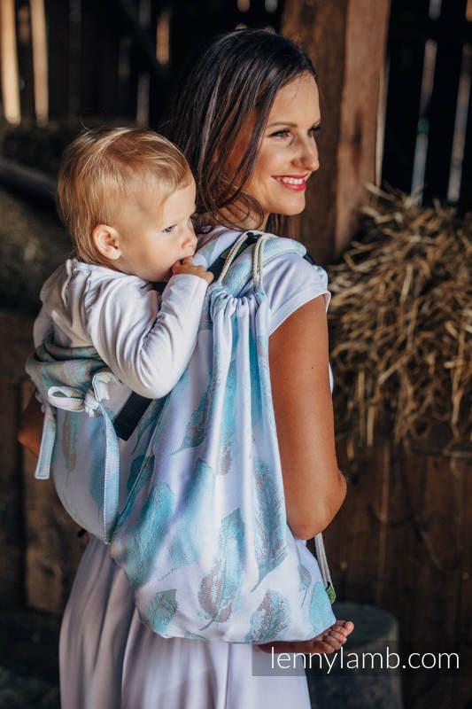 Mochila portaobjetos hecha de tejido de fular (100% algodón) - PAINTED FEATHERS BLANCO & TURQUESA - talla estándar 32cmx43cm (grado B) #babywearing