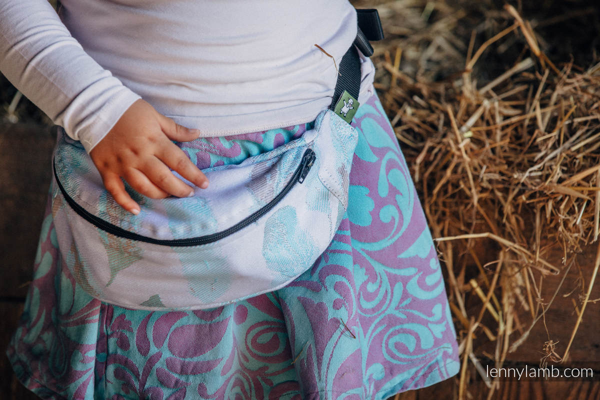 Waist Bag made of woven fabric, (100% cotton) - PAINTED FEATHERS WHITE & TURQUOISE #babywearing