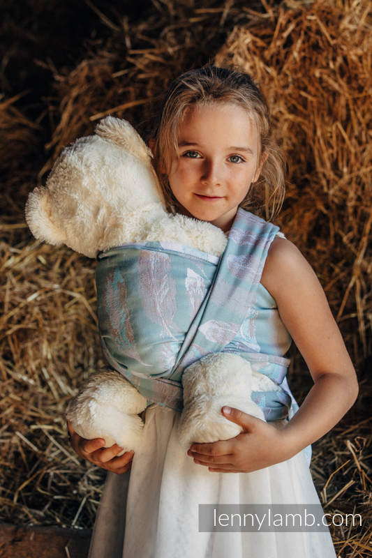 Doll Sling, Jacquard Weave, 100% cotton - PAINTED FEATHERS WHITE & TURQUOISE (grade B) #babywearing