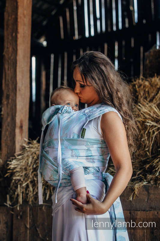 WRAP-TAI carrier Mini with hood/ jacquard twill / 100% cotton / PAINTED FEATHERS WHITE & TURQUOISE (grade B) #babywearing
