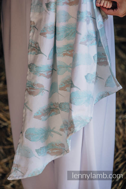 Baby Wrap, Jacquard Weave (100% cotton) - PAINTED FEATHERS WHITE & TURQUOISE - size XL #babywearing