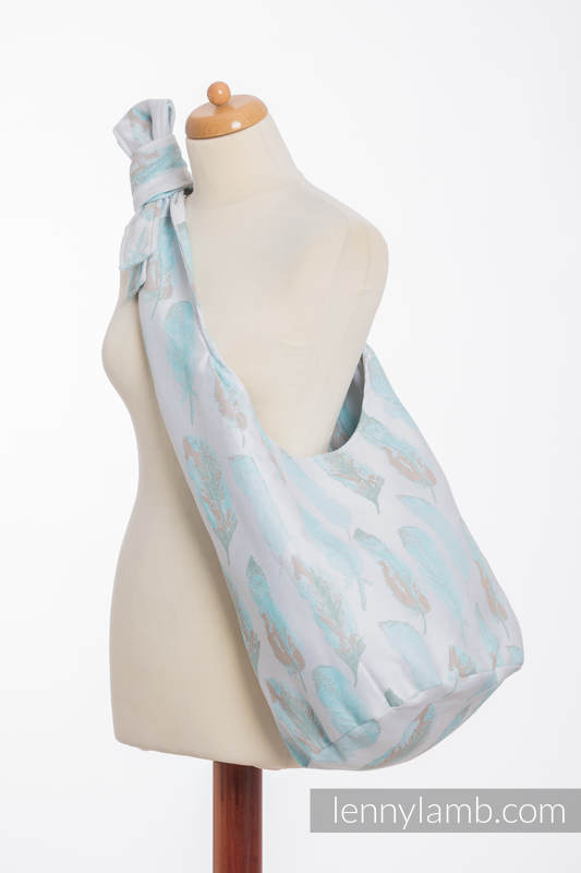 Hobo Bag made of woven fabric, 100% cotton - PAINTED FEATHERS WHITE & TURQUOISE (grade B) #babywearing