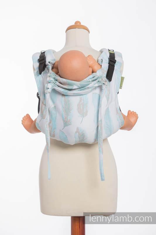 Onbuhimo SAD LennyLamb, talla estándar, jacquard (100% algodón) - PAINTED FEATHERS BLANCO & TURQUESA #babywearing