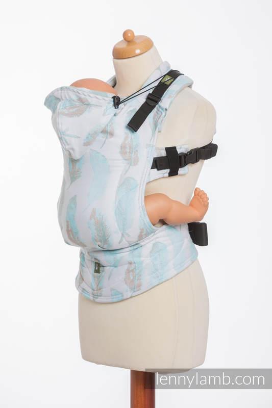 Nosidełko Ergonomiczne z tkaniny żakardowej 100% bawełna , Toddler Size, MALOWANE PIÓRA BIEL Z TURKUSEM - Druga Generacja (drugi gatunek) #babywearing
