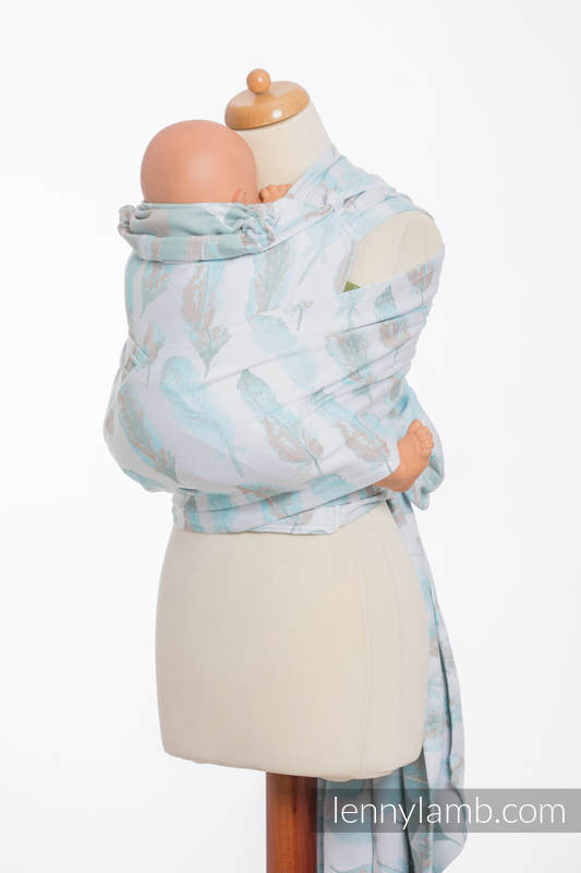WRAP-TAI carrier Toddler with hood/ jacquard twill / 100% cotton / PAINTED FEATHERS WHITE & TURQUOISE (grade B) #babywearing