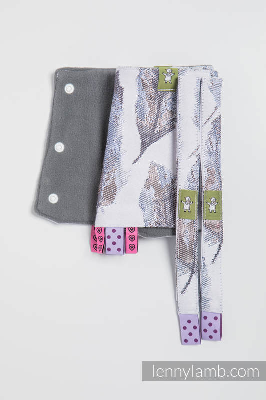 Set de protege tirantes y tiras de alcance (60% algodón, 40% Poliéster) - PAINTED FEATHERS BLANCO & AZUL MARINO #babywearing