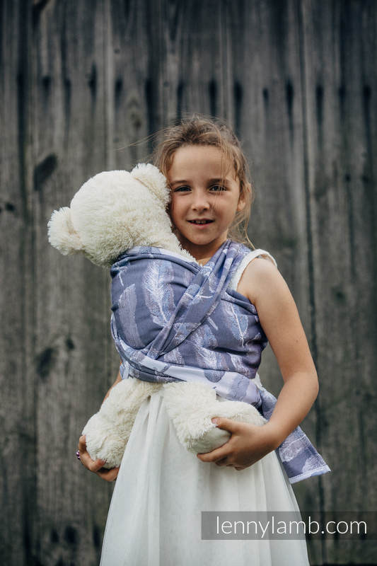 Doll Sling, Jacquard Weave, 100% cotton - PAINTED FEATHERS WHITE & NAVY BLUE (grade B) #babywearing