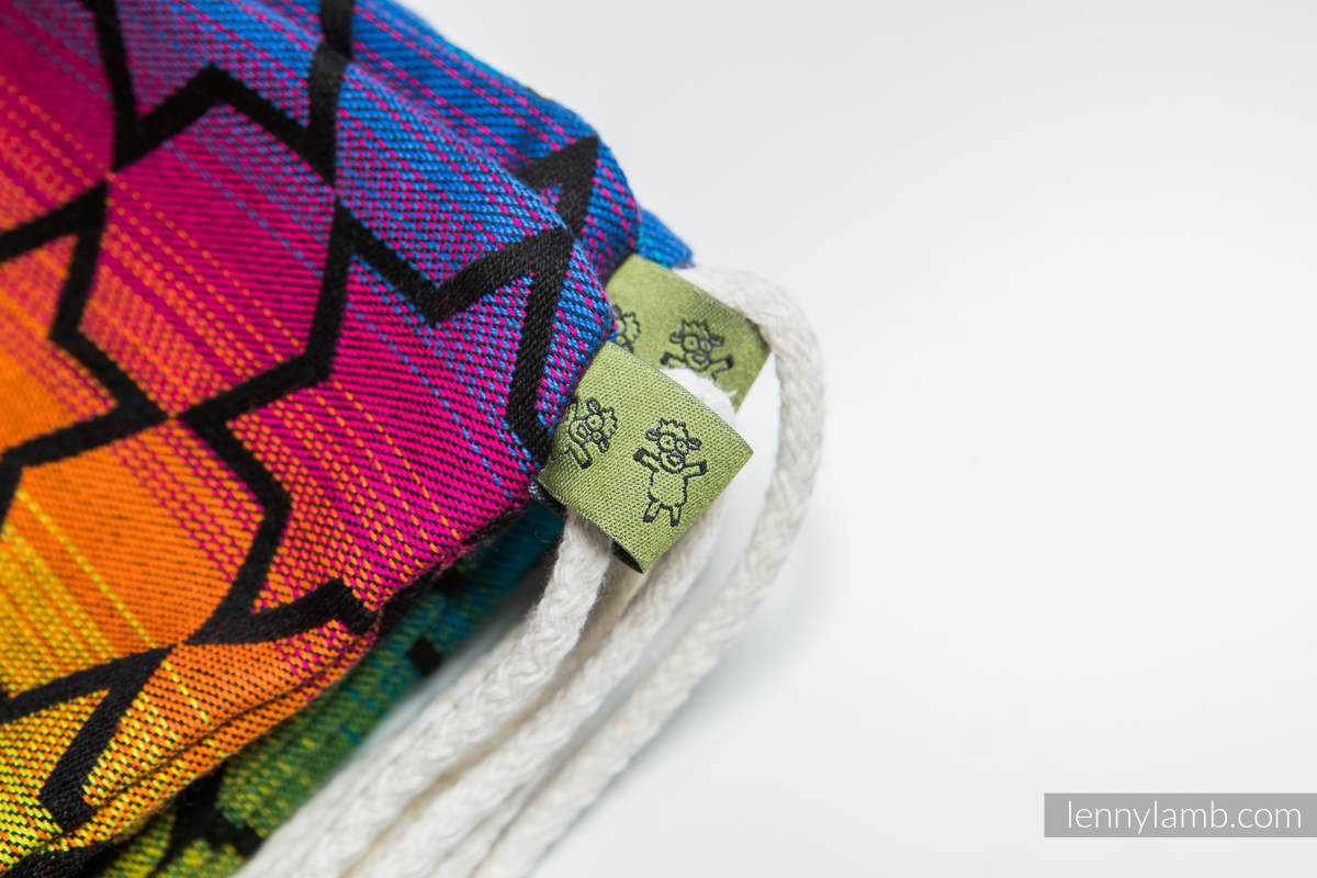 Mochila portaobjetos hecha de tejido de fular (100% algodón) - RAINBOW STARS DARK - talla estándar 32cmx43cm (grado B) #babywearing