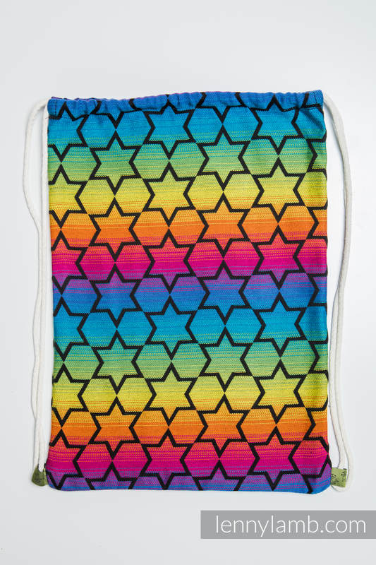 Sackpack made of wrap fabric (100% cotton) - RAINBOW STARS DARK - standard size 32cmx43cm #babywearing
