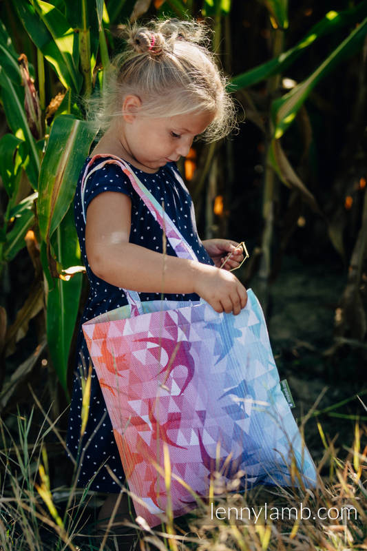 Shopping bag made of wrap fabric (100% cotton) - SWALLOWS  RAINBOW LIGHT #babywearing