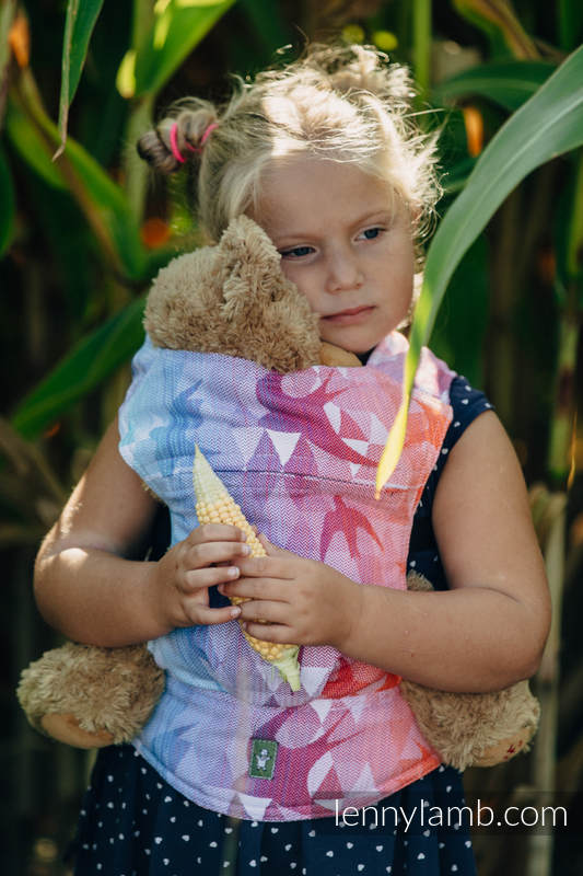 Doll Carrier made of woven fabric, 100% cotton - SWALLOWS RAINBOW LIGHT #babywearing