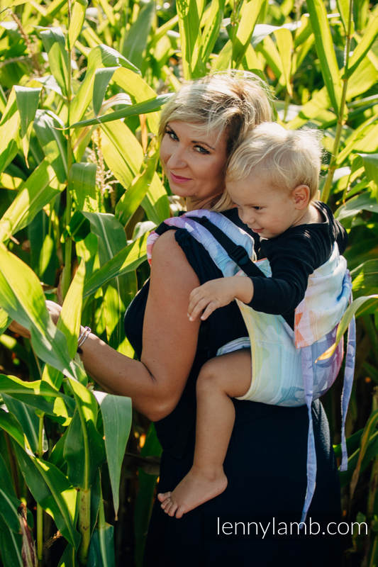 Lenny Buckle Onbuhimo baby carrier, toddler size, jacquard weave (100% cotton) - SWALLOWS RAINBOW LIGHT #babywearing