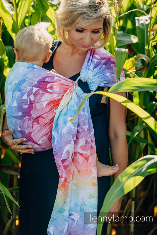 Ringsling, Jacquard Weave (100% cotton) - with gathered shoulder - SWALLOWS RAINBOW LIGHT - long 2.1m #babywearing