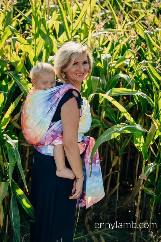 Baby Wrap, Jacquard Weave (100% cotton) - SWALLOWS RAINBOW LIGHT - size M #babywearing