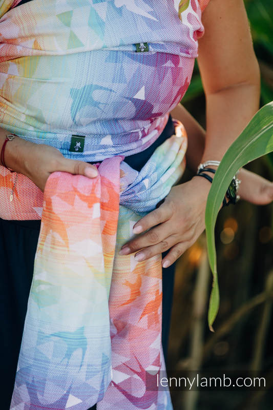 Baby Wrap, Jacquard Weave (100% cotton) - SWALLOWS RAINBOW LIGHT - size S #babywearing