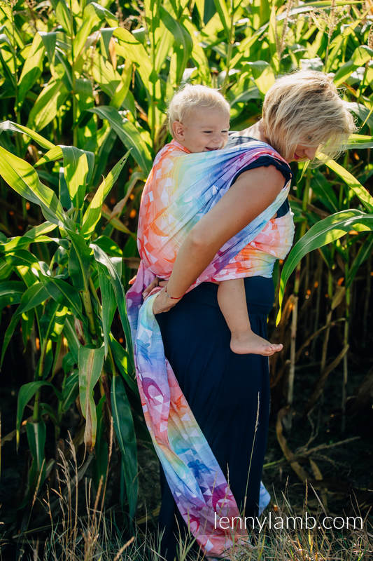 Baby Wrap, Jacquard Weave (100% cotton) - SWALLOWS RAINBOW LIGHT - size XL #babywearing