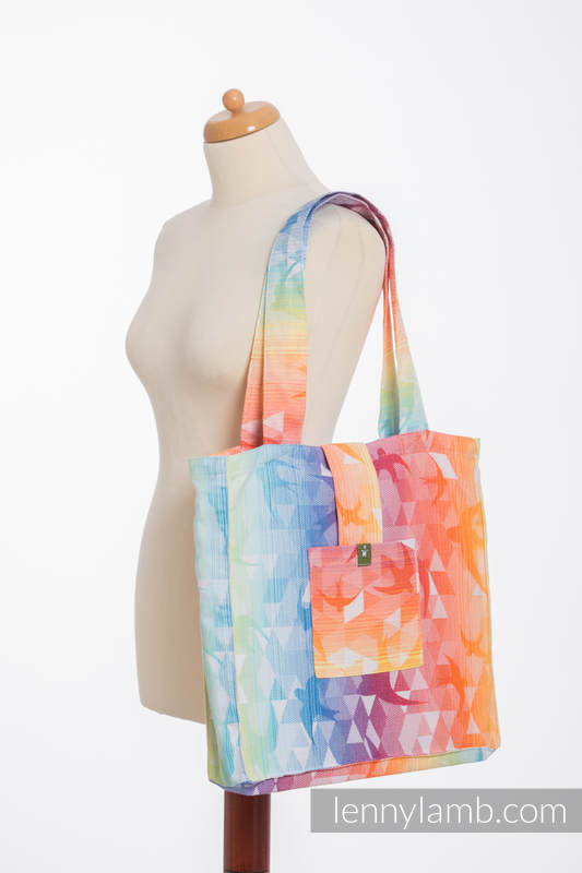 Shoulder bag made of wrap fabric (100% cotton) - SWALLOWS RAINBOW LIGHT - standard size 37cmx37cm #babywearing