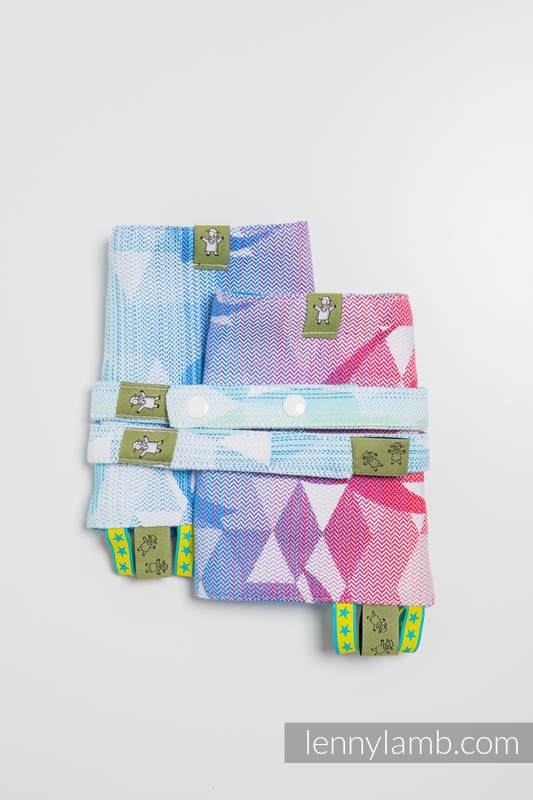 Drool Pads & Reach Straps Set, (60% cotton, 40% polyester) - SWALLOWS RAINBOW LIGHT #babywearing