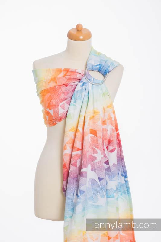 Żakardowa chusta kółkowa do noszenia dzieci, bawełna, ramię bez zakładek - JASKÓŁKI TĘCZOWE LIGHT  - standard 1.8m #babywearing