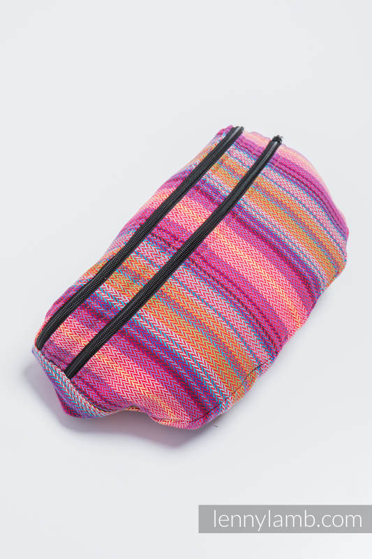 Waist Bag made of woven fabric, size large (100% cotton) - LITTLE HERRINGBONE RASPBERRY GARDEN  #babywearing