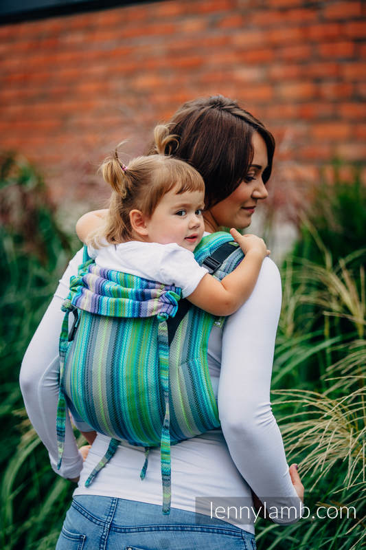 Lenny Buckle Onbuhimo, toddler size, herringbone weave (100% cotton) - Wrap conversion from LITTLE HERRINGBONE AMAZONIA #babywearing