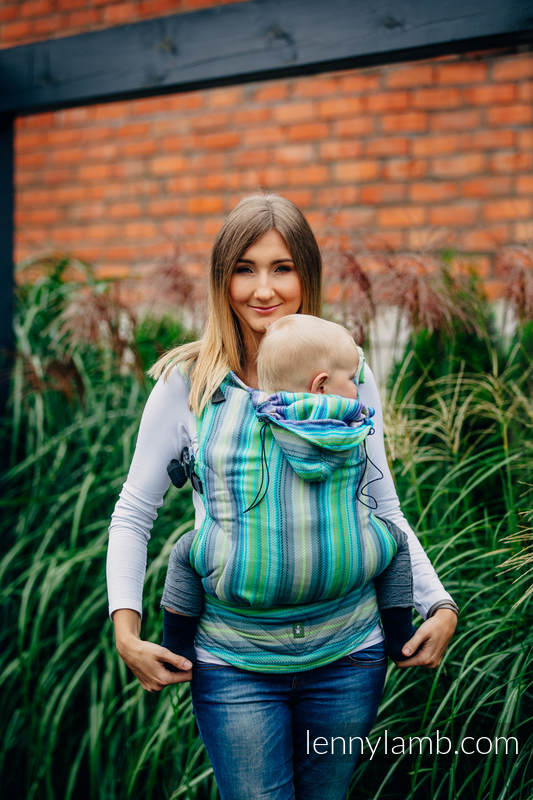 Ergonomic Carrier, Baby Size, herringbone weave 100% cotton - wrap conversion from LITTLE HERRINGBONE AMAZONIA - Second Generation #babywearing
