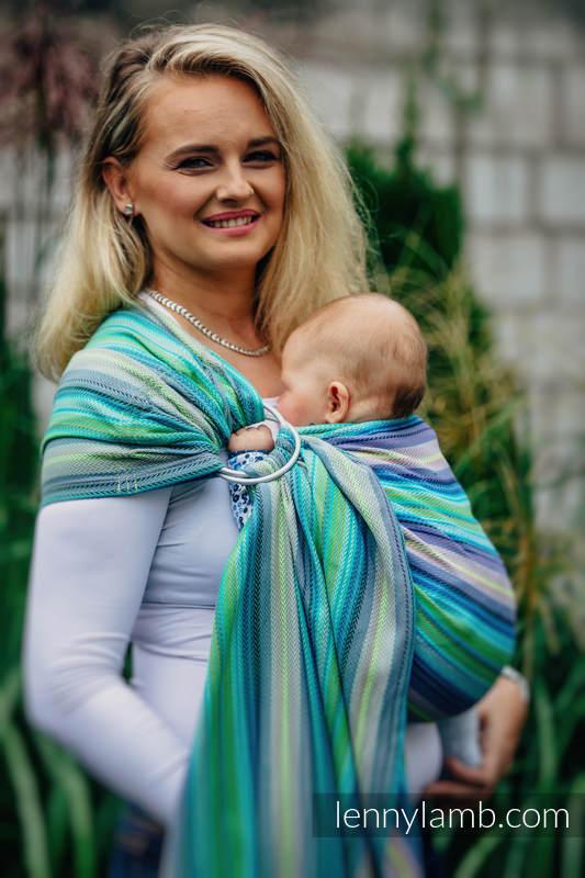 Chusta kółkowa do noszenia dzieci, splot jodełkowy, bawełna - MAŁA JODEŁKA AMAZONIA  #babywearing