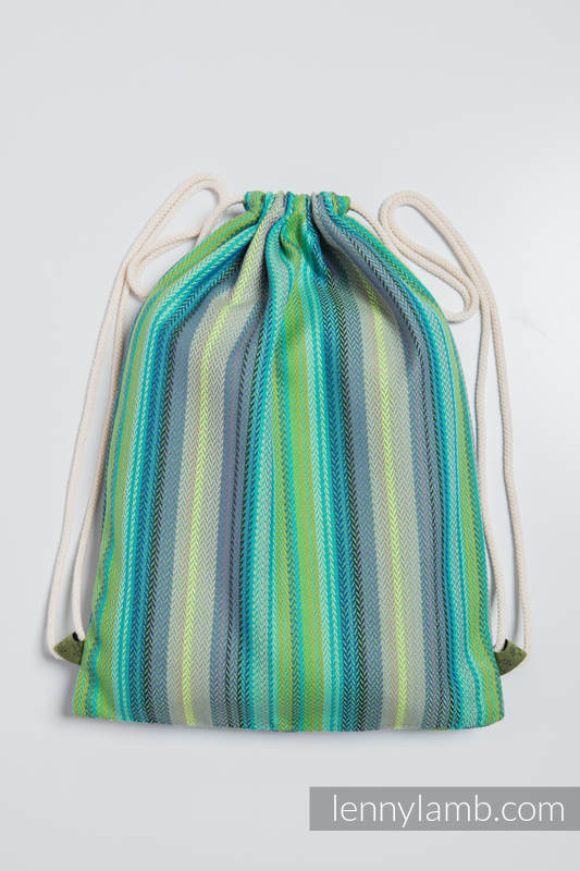 Sackpack made of wrap fabric (100% cotton) - LITTLE HERRINGBONE AMAZONIA - standard size 32cmx43cm #babywearing