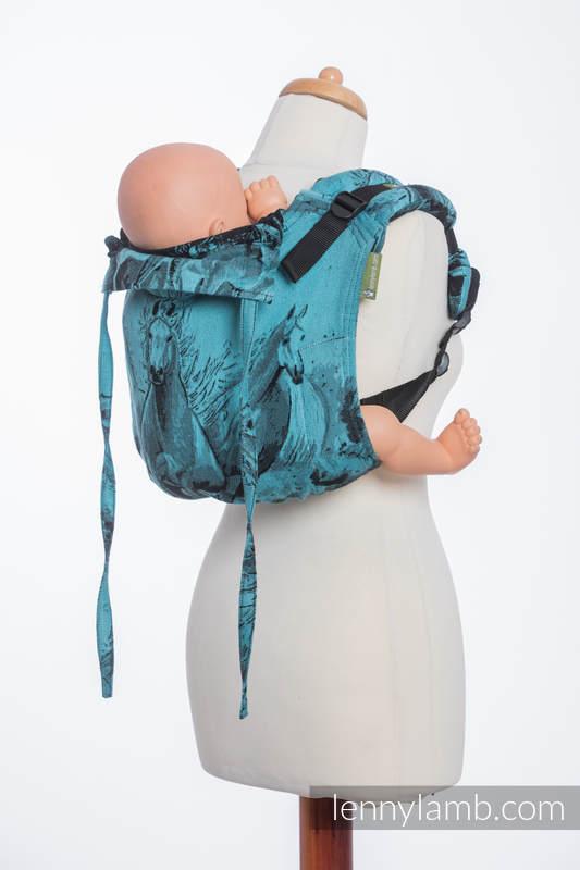 Onbuhimo SAD LennyLamb, talla estándar, jacquard (100% algodón) - GALLOP NEGRO & TURQUESA #babywearing