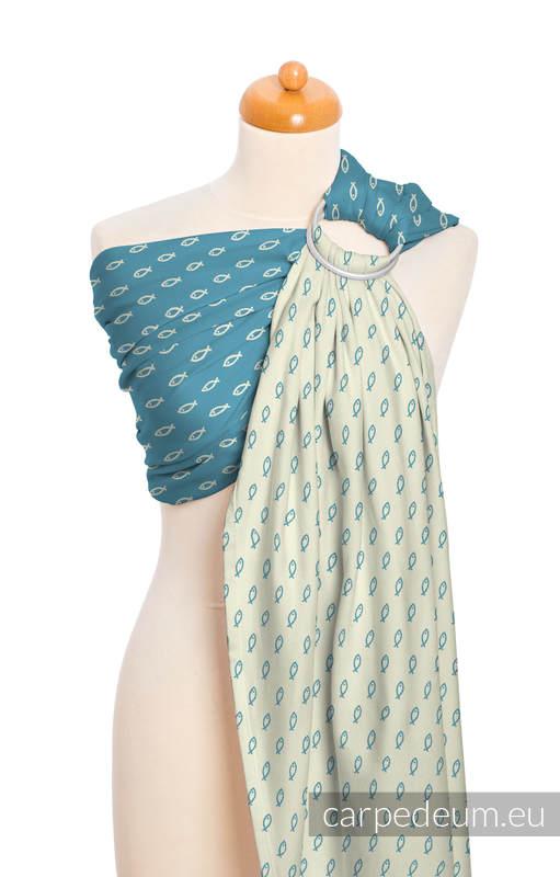 Żakardowa chusta kółkowa do noszenia dzieci, bawełna, ramię bez zakładek - ICHTYS - NIEBIESKI #babywearing