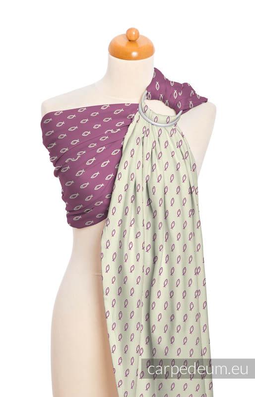 Żakardowa chusta kółkowa do noszenia dzieci, bawełna, ramię bez zakładek - ICHTYS - RÓŻOWY #babywearing